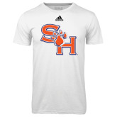 Adidas Climalite White Ultimate Performance Tee-SH Paw Official Logo