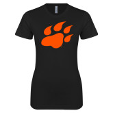 Next Level Ladies SoftStyle Junior Fitted Black Tee-Secondary Athletics Mark