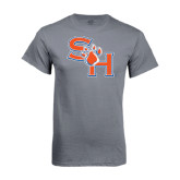 Charcoal T-Shirt-SH Paw Official Logo Distressed