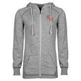 ENZA Ladies Grey/Black Marled Full Zip Hoodie-SH Paw Official Logo