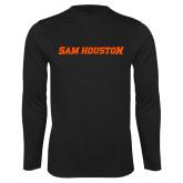 Performance Black Longsleeve Shirt-Sam Houston Wordmark