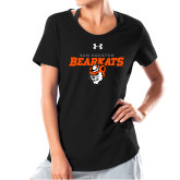 Ladies Under Armour Black Charged Cotton Tee-Sam Houston Secondary Mascot Lock Up