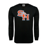Black Long Sleeve TShirt-SH Paw Official Logo Distressed