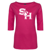 Ladies Dark Fuchsia Perfect Weight 3/4 Sleeve Tee-SH Paw Official Logo