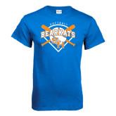 Royal Blue T Shirt-Softball Design w/ Bats and Plate