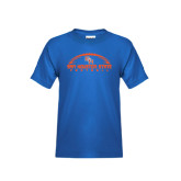 Youth Royal Blue T Shirt-Arched Football Design
