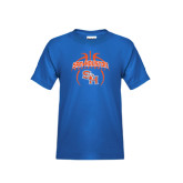 Youth Royal Blue T Shirt-Basketball in Ball