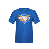 Youth Royal Blue T Shirt-Softball Design w/ Bats and Plate