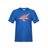 Youth Royal Blue T Shirt-Track and Field Side Design