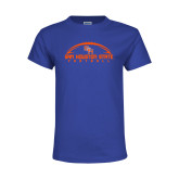 Youth Royal T Shirt-Arched Football Design