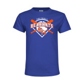 Youth Royal T Shirt-Softball Design w/ Bats and Plate