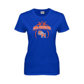 Ladies Royal T Shirt-Basketball in Ball