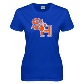 Ladies Royal T Shirt-SH Paw Official Logo Distressed