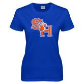 Ladies Royal T Shirt-SH Paw Official Logo Distressed