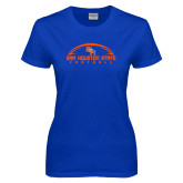 Ladies Royal T Shirt-Arched Football Design