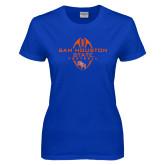 Ladies Royal T Shirt-Tall Football Design