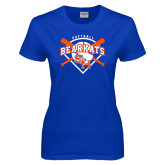 Ladies Royal T Shirt-Softball Design w/ Bats and Plate