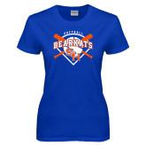 Ladies Royal T Shirt-Softball Design w/ Bats and Plate