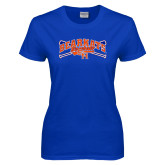 Ladies Royal T Shirt-Baseball Design