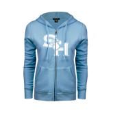 ENZA Ladies Light Blue Fleece Full Zip Hoodie-SH Paw Official Logo