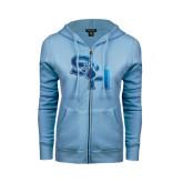ENZA Ladies Light Blue Fleece Full Zip Hoodie-SH Paw Official Logo Distressed Foil