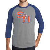 Grey/Royal Heather Tri Blend Baseball Raglan-SH Paw Official Logo