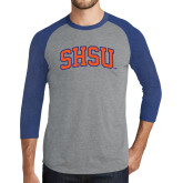 Grey/Royal Heather Tri Blend Baseball Raglan-Arched SHSU