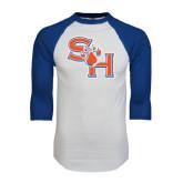 White/Royal Raglan Baseball T Shirt-SH Paw Official Logo