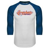 White/Royal Raglan Baseball T Shirt-Softball Lady Design