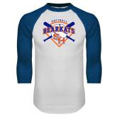 White/Royal Raglan Baseball T Shirt-Softball Design w/ Bats and Plate