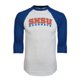 White/Royal Raglan Baseball T Shirt-Arched SHSU Bearkats