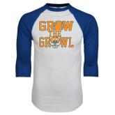 White/Royal Raglan Baseball T Shirt-Grow the Growl - Baseball