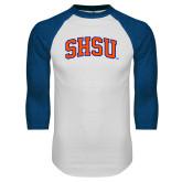 White/Royal Raglan Baseball T Shirt-Arched SHSU