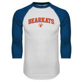 White/Royal Raglan Baseball T Shirt-Arched Bearkats w/Paw