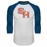 White/Royal Raglan Baseball T Shirt-SH Paw Official Logo Distressed