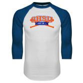 White/Royal Raglan Baseball T Shirt-Baseball Bats