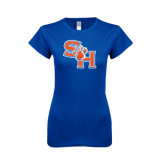 Next Level Ladies Softstyle Junior Fitted Royal Tee-SH Paw Official Logo