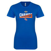 Next Level Ladies Softstyle Junior Fitted Royal Tee-Southland Conference Indoor Track and Field Champions