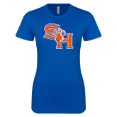 Next Level Ladies SoftStyle Junior Fitted Royal Tee-SH Paw Official Logo Distressed