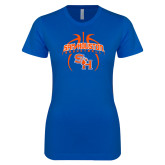 Next Level Ladies SoftStyle Junior Fitted Royal Tee-Basketball in Ball