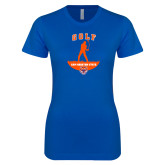 Next Level Ladies SoftStyle Junior Fitted Royal Tee-Golf Stacked