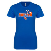 Next Level Ladies SoftStyle Junior Fitted Royal Tee-Soccer Swoosh