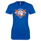 Next Level Ladies SoftStyle Junior Fitted Royal Tee-Softball Design w/ Bats and Plate