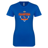 Next Level Ladies SoftStyle Junior Fitted Royal Tee-2017 Southland Conference Baseball Champions