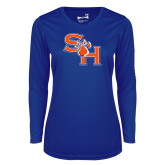Ladies Syntrel Performance Royal Longsleeve Shirt-SH Paw Official Logo