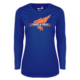 Ladies Syntrel Performance Royal Longsleeve Shirt-Track and Field Side Design