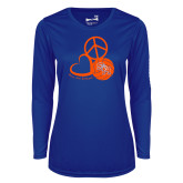 Ladies Syntrel Performance Royal Longsleeve Shirt-Volleyball Design