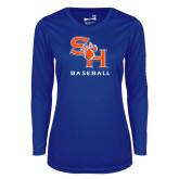 Ladies Syntrel Performance Royal Longsleeve Shirt-Baseball