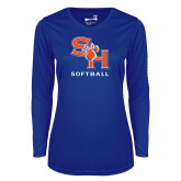 Ladies Syntrel Performance Royal Longsleeve Shirt-Softball