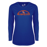 Ladies Syntrel Performance Royal Longsleeve Shirt-Arched Football Design